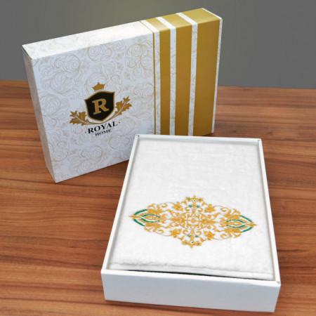 Prosop baie Brodat Model Royal Mille Gold, 70x140cm - 650gr/mp + Prosop Fata Alb Simplu, bumbac 100%