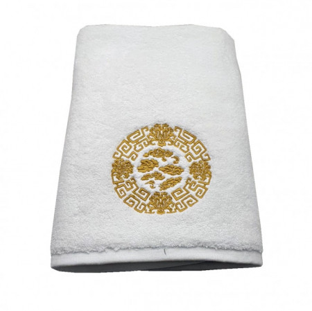 Prosop baie Brodat Asiatic, bumbac 100%, alb, 70x140cm - 650gr/mp