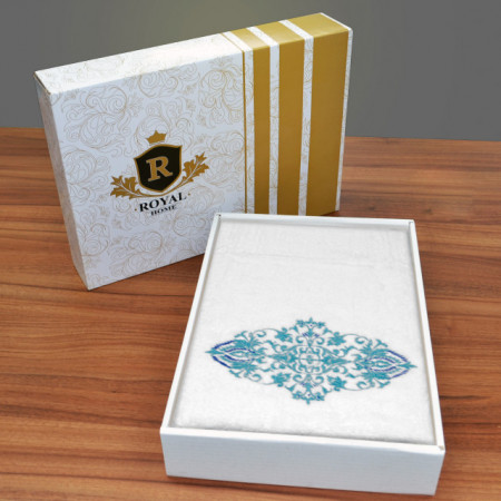 Prosop baie Brodat Model Royal Mille Turquoise, 70x140cm - 650gr/mp + Prosop Fata Alb Simplu, bumbac 100%