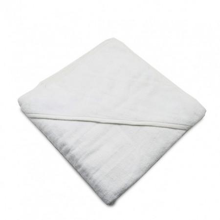 Prosop baie cu gluga pentru bebelus, bumbac, alb , 90x90cm