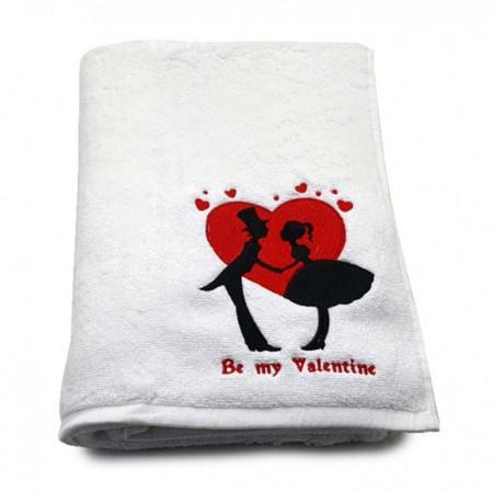 Prosop baie Brodat Valentine's Day, bumbac 100%, alb, 70x140cm - 650gr/mp