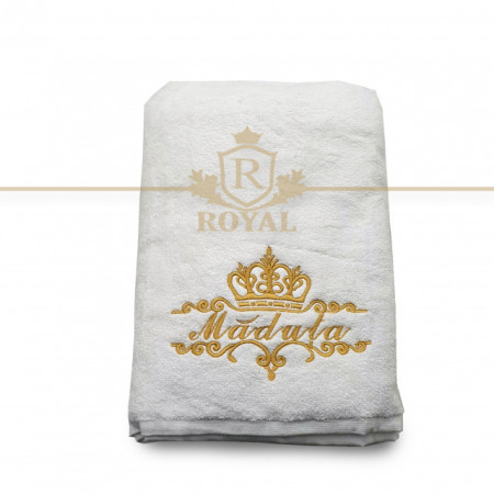 RESIGILAT - Prosop baie Brodat, bumbac 100%, alb, 70x140cm - 650gr/mp