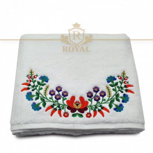 Prosop baie Floral, bumbac 100%, alb, 70x140cm - 650gr/mp