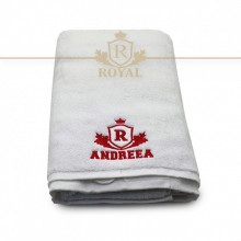 Prosop baie Brodat Nume Andreea, Royal Home, bumbac 100%, alb, 70x140cm - 650gr/mp