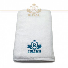 Prosop baie Brodat Nume la alegere , Royal Home, bumbac 100%, alb, 70x140cm - 650gr/mp