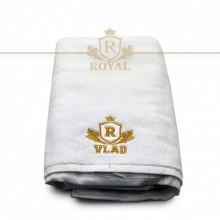 Prosop baie Brodat Nume Vlad, Royal Home, bumbac 100%, alb, 70x140cm - 650gr/mp