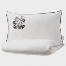 Lenjerie Ranforce -145 gr/mp - Pat Dublu cu Fete de perna brodate - Model floral 2