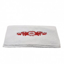 Prosop Fata Brodat, Broderie Merry Christmas, bumbac 100%, Alb, 50x90cm - 650gr/mp
