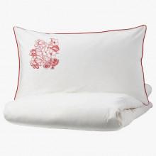 Lenjerie Ranforce -145 gr/mp - Pat Dublu cu Fete de perna brodate - Model floral 2 - Rosu 1