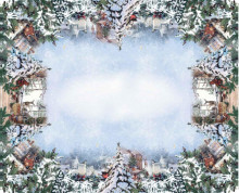 Fata de masa 12 persoane Bumbac Imprimat Digital 150x240 cm - Model Craciun