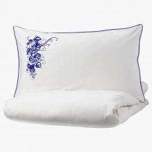 Lenjerie Ranforce -145 gr/mp - Matrimoniala + 2 Fete de perna brodate - Model floral 2