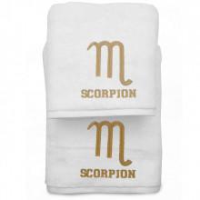 Set 2 Prosoape baie cu broderie Scorpion, bumbac 100%