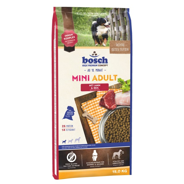 Hrana uscata pentru caini, Bosch, Adult Mini Miel si Orez, 15 kg