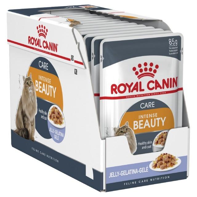 Hrana umeda pentru pisici, Royal Canin, Intense Beauty Pouch Jelly, 12 x 85 g