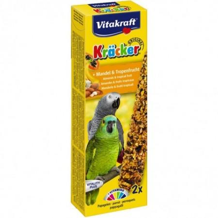 Baton pentru pasari, Vitakraft, Papagali Migdale, Fructe Tropicale, 2 bucati