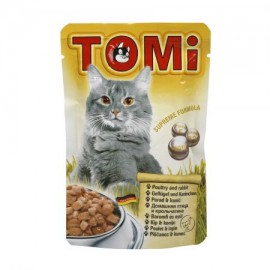 Hrana umeda pentru pisici, Tomi, Pui si Iepure, plic 100 g