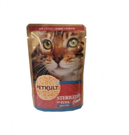 Petkult Cat, Sterilised cu Ton, 100G