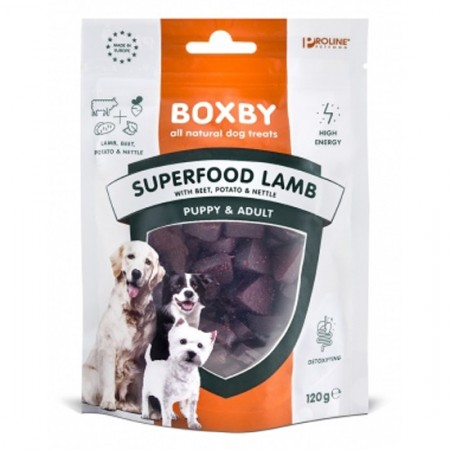 Recompense pentru caini, Boxby Superfood Lamb, Beet & Nettle, 120g