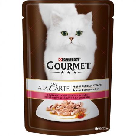 Hrana umeda pentru pisici, Gourmet A La Carte, Pastrav si Legume in sos, 85g