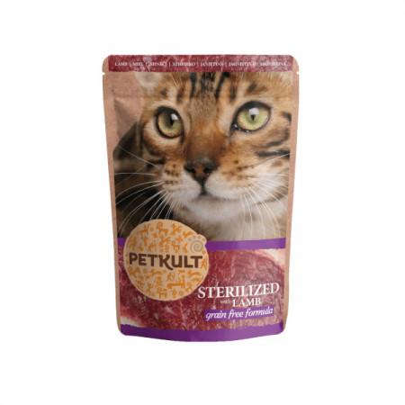 Hrana umeda pentru pisici, Petkult Cat, Sterilizat cu Miel, 100G