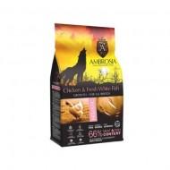 Hrana uscata pentru caini, Ambrosia Grain Free, Junior, Pui si Peste, 12 Kg