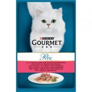 Hrana umeda pentru pisici, Gourmet Perle, Pastrav si Spanac in sos, 85g