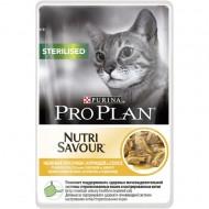 Hrana umeda pentru pisici, Pro Plan, Sterilised Nutrisavour Sos cu Pui, 24 x 85 g
