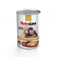 Hrana umeda pentru caini, Nutraline, Dog Adult Monoprotein Pui Ulei de Floarea Soarelui, 800 g