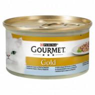 Hrana umeda pentru pisici, Gourmet Gold Double Pleasure, Peste si Spanac, 24 X 85g