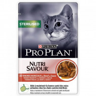 Hrana umeda pentru pisici, Pro Plan, Sterilised Nutrisavour cu Vita, 12 x 85 g