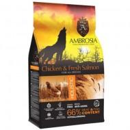 Hrana uscata pentru caini, Ambrosia Grain Free, Adult, Pui si Somon, 12 Kg