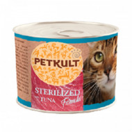 Hrana umeda pentru pisici, Petkult Cat, Sterilised cu Ton, 185G