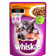 Hrana umeda pentru pisici, Whiskas Junior, Pasare in Sos, 100G