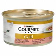 Hrana umeda pentru pisici, Gourmet Gold cu pui și somon în sos, 24 x 85g