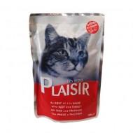 Hrana umeda pentru pisici, Plaisir, Vita si Curcan, 12 x 100 g