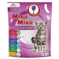 Nisip silicatic pentru pisici, Miau Miau, Silicat, Lavanda, 3.8 L