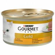 Hrana umeda pentru pisici, Gourmet Gold, Mousse cu Ficat, 24 x 85g