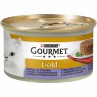 Hrana umeda pentru pisici, Gourmet Gold Savoury Cake, Miel si Fasole Verde, 24 X 85g