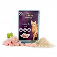 Hrana umeda pentru pisici, Nuevo Sterilized, Pui si Orez, 85 g