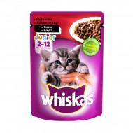 Hrana umeda pentru pisici, Whiskas Junior, Vita in Sos, 100G