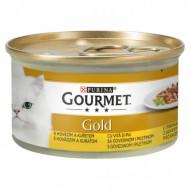 Hrana umeda pentru pisici, Gourmet Gold, Double Pleasure cu vită și pui în sos, 85g