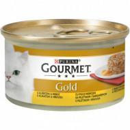 Hrana umeda pentru pisici, Gourmet Gold, Pui şi Morcovi, 24 X 85g