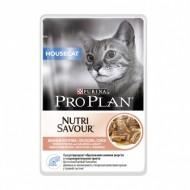 Hrana umeda pentru pisici, Pro Plan, Housecat Nutrisavour, Somon in Sos, 24 x 85 g