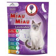 Nisip silicatic pentru pisici, Miau Miau, Silicat, Lavanda, 5 L