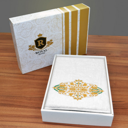 Poze Prosop baie Brodat Model Royal Mille Gold, 70x140cm - 650gr/mp + Prosop Fata Alb Simplu, bumbac 100%