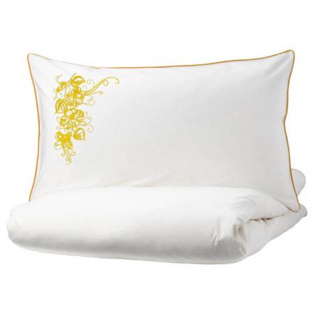 Poze Lenjerie Ranforce -145 gr/mp - Pat Dublu cu Fete de perna brodate - Model floral 1 - galben