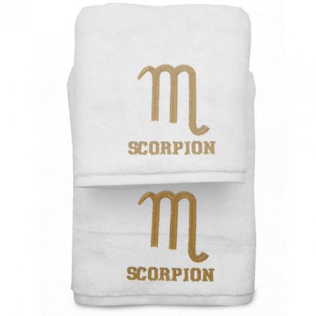 Set 2 Prosoape baie Brodate Alb cu broderie Scorpion, bumbac 100%