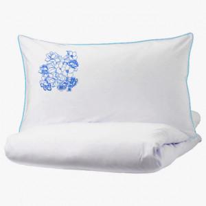 Lenjerie Ranforce -145 gr/mp - Pat Dublu cu Fete de perna brodate - Model floral 2 - Albastru