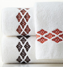 Set 2 Prosoape baie Brodate Alb cu broderie Traditional, bumbac 100%