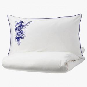 Lenjerie Ranforce -145 gr/mp - Pat Dublu cu Fete de perna brodate - Model floral 1